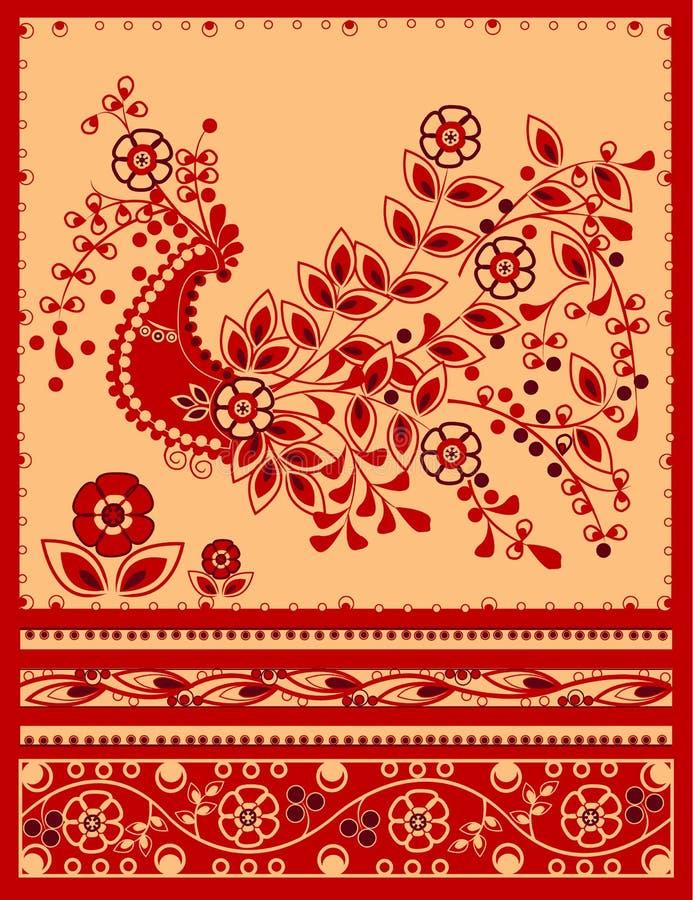 Firebird tradicional com ornamento floral ilustração royalty free