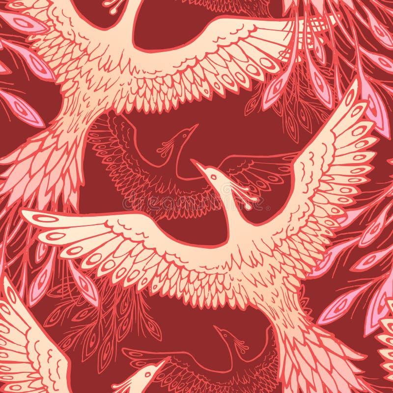 Free Firebird Vector Seamless Pattern. Stylized Bird Seamless Texture. Textile, Wrapping Paper, Wallpaper Design. Stock Royalty Free Stock Photos - 170959548