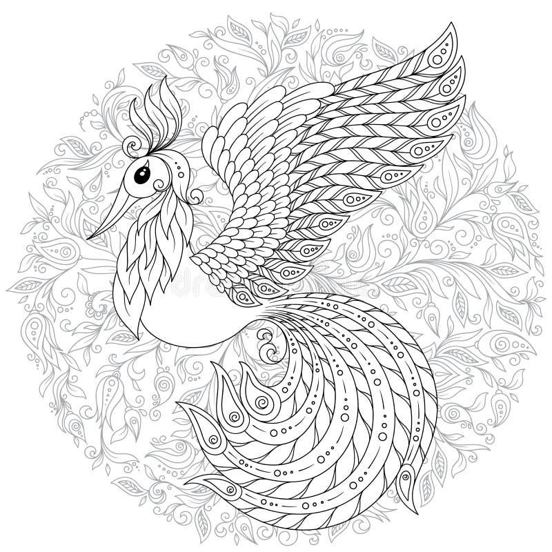 Firebird voor antispannings Kleurende Pagina met hoge details royalty-vrije illustratie