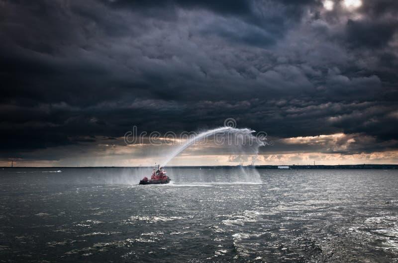 Fireboat stockbilder