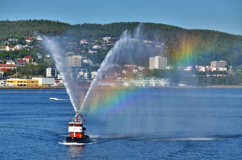 Fireboat in Alesund stockfotos