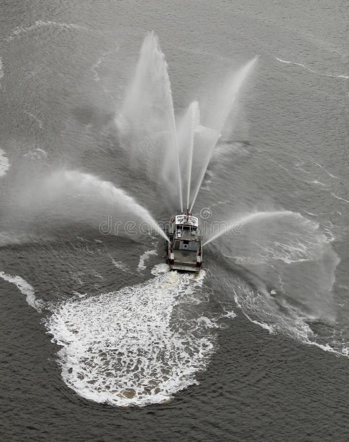 Fireboat imitates Butterfly #1 royalty free stock image