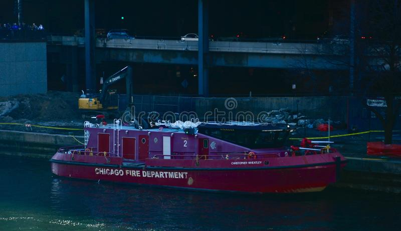 Fireboat van Chicago Christopher Wheatley stock foto's