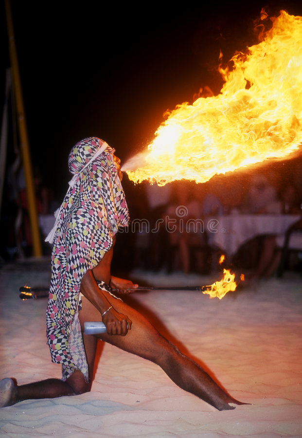 Firebreather jamaïquain photo stock
