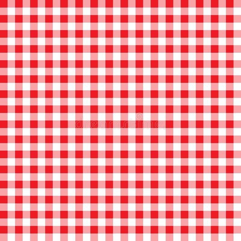 Firebrick Gingham wzór textured czerwieni i bielu szkockiej kraty tło Tablecloth tła czerwony bezszwowy wzór Wzór dla ilustracja wektor