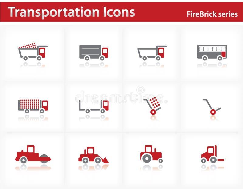 firebrick ikon serie ustawiają transport ilustracja wektor