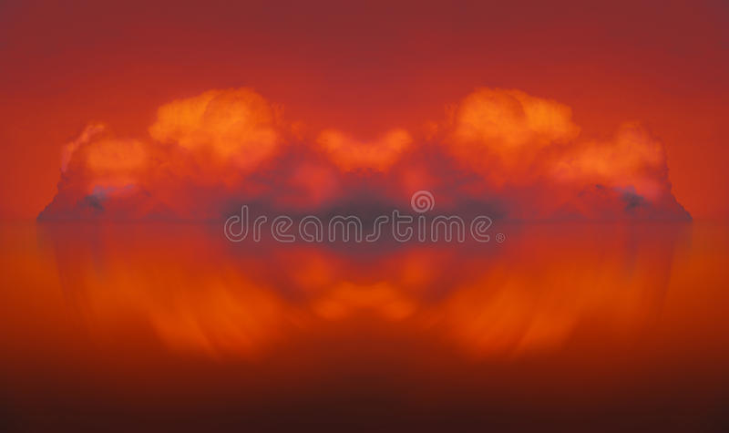 Firecloud abstract cloud composing. Abstract red fireclouds artwork illustration stock images