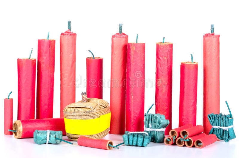 Firecracker assortment. Many different firecracker before white background royalty free stock photos