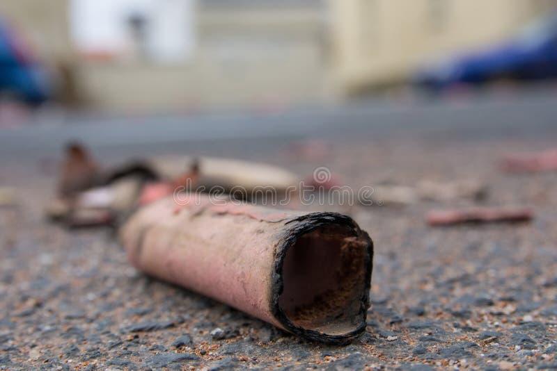 Firecracker. Close-up of a burnt firecracker stock photos
