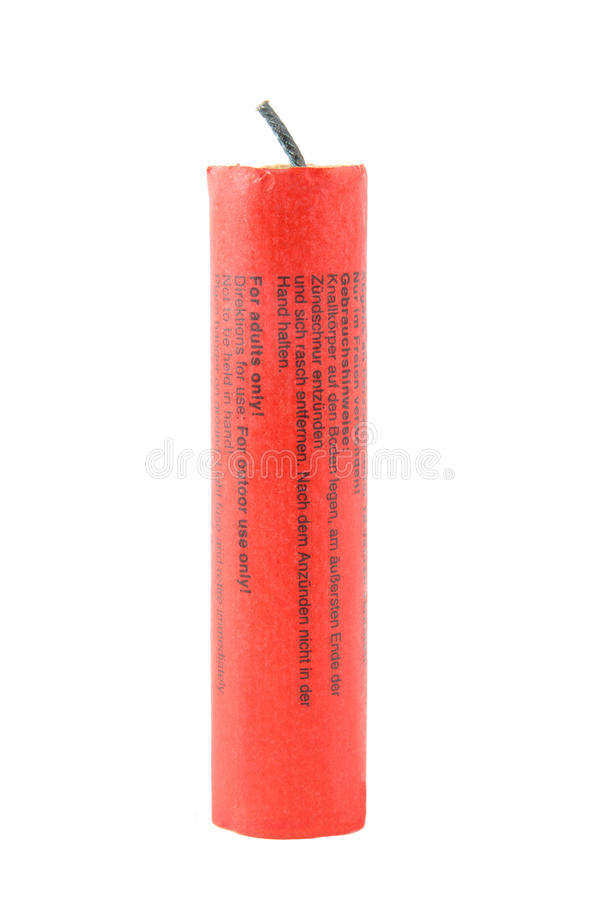Firecracker isolated. A red firecracker isolated on white background stock photos