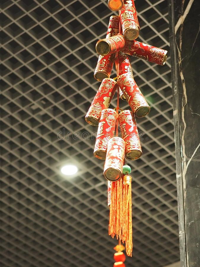 Firecrackers κινεζικό νέο φεστιβάλ έτους διακοσμήσεων στοκ φωτογραφία με δικαίωμα ελεύθερης χρήσης