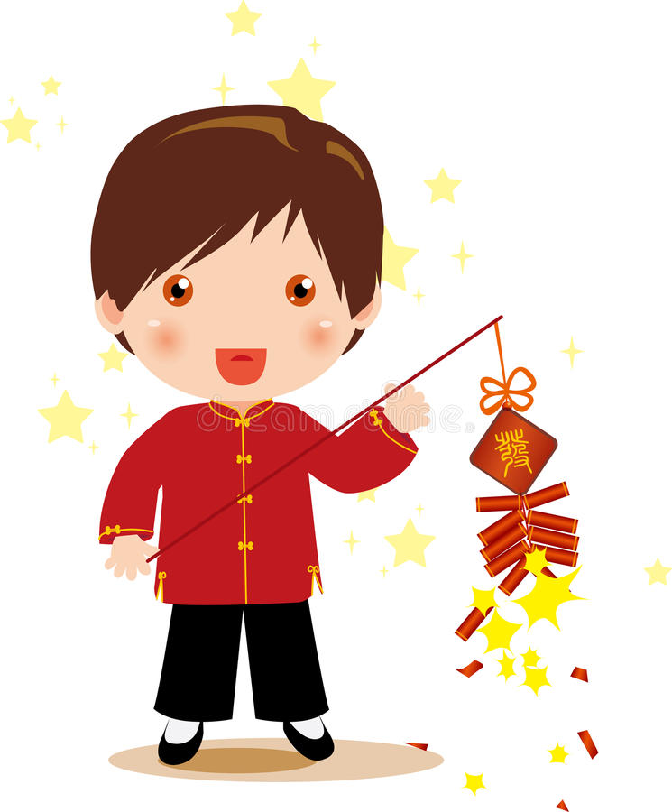 Firecrackers and boy vector illustration