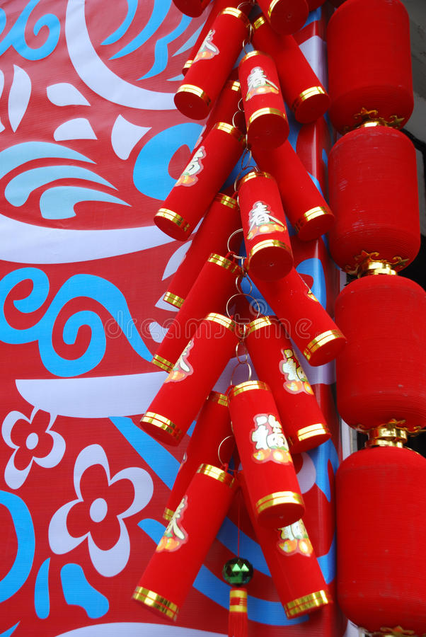 Firecrackers and red lanterns royalty free stock image