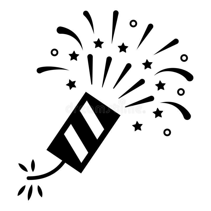 Firecrackersvartsymbol, högt explosivt fyrverkerisymbol vektor illustrationer
