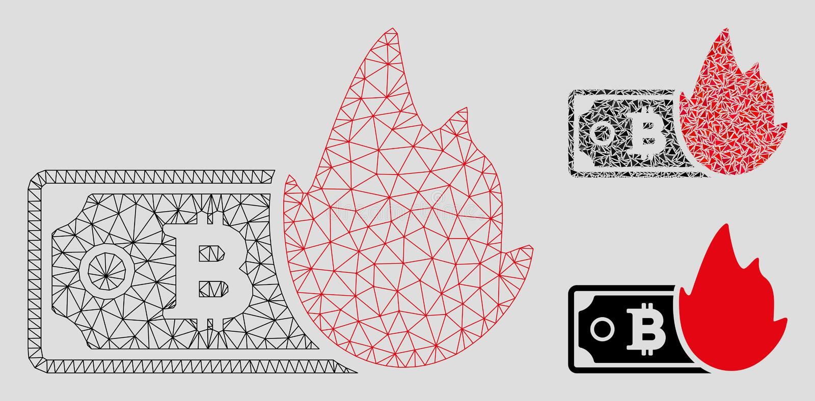 Fired Bitcoin Banknote Vector Mesh 2D Model and Triangle Mosaic Icon. Mesh fired bitcoin banknote model with triangle mosaic icon. Wire frame triangular mesh of stock illustration