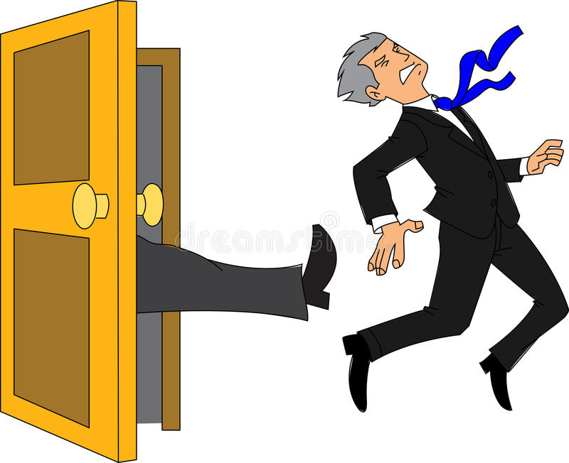Fired. Businessman being kicked out of the door stock illustration
