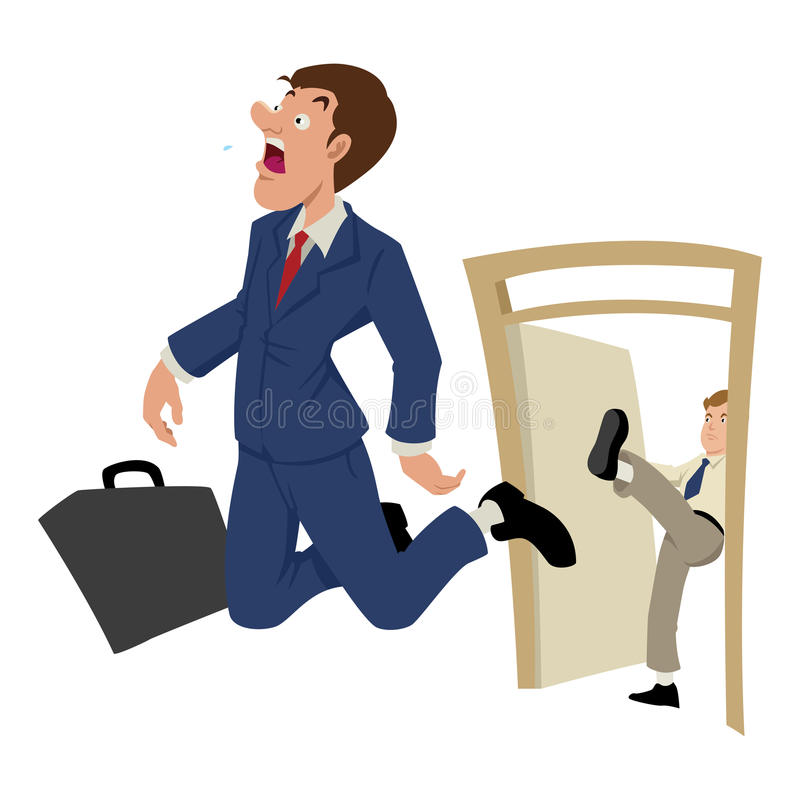 Fired. Cartoon illustration of a businessman being kicked out stock illustration