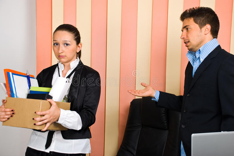 Fired disappointed woman stock photo