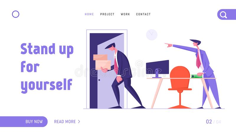 Fired Employee Leaving Office with Things Website Landing Page. Angry Boss Shouting and Pointing on Door to Sad Worker. Carrying his Belongings in Box. Web Page royalty free illustration