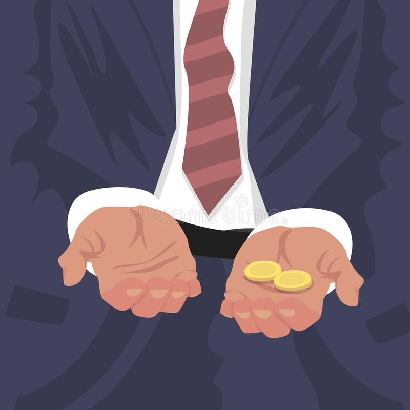 Fired employee outstretched hands for begging stock illustration