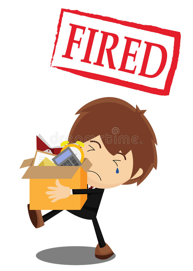 Fired from a job. A guy getting fired from a job stock illustration