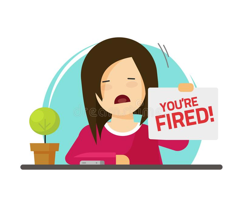 Fired from job vector illustration, flat cartoon sad person on work with you are fired notice on paper sheet, dismissed royalty free illustration