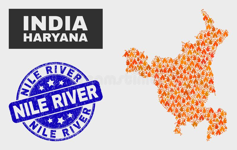 Fired Mosaic Haryana State Map and Scratched Nile River Seal. Vector composition of burn Haryana State map and blue rounded distress Nile River seal. Orange royalty free illustration