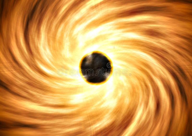 The black hole and its readiation circles stock photos