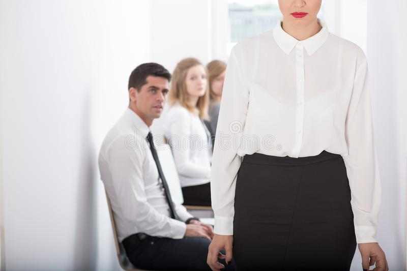 Fired from work. Picture of young women fired from work royalty free stock image