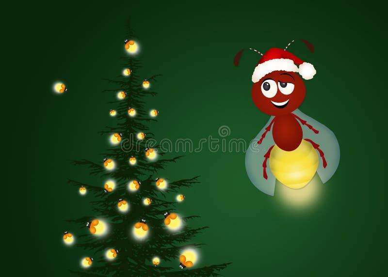 Firefies op Kerstboom stock illustratie