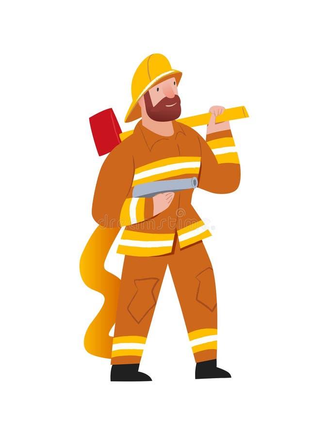 firefighter Επαγγελματικός σωτήρας, handson επάγγελμα εργασίας Άτομο γενειάδων σε ομοιόμορφο με τη πυροσβεστική αντλία και το τσε διανυσματική απεικόνιση