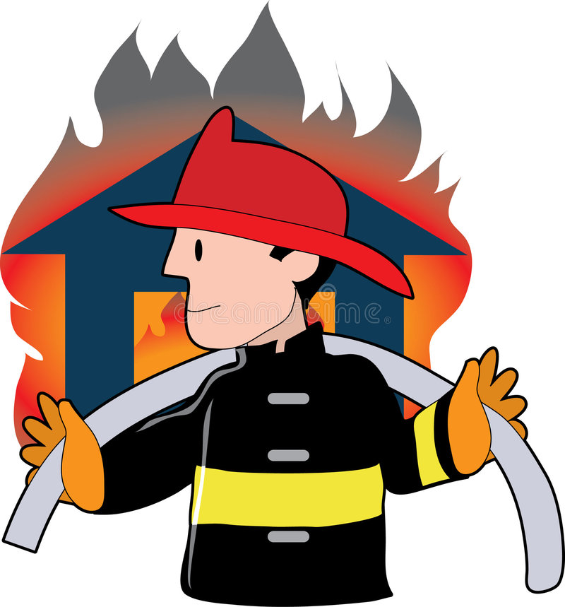 Firefighter. Carrying a fire hose infront of a blazing house royalty free illustration