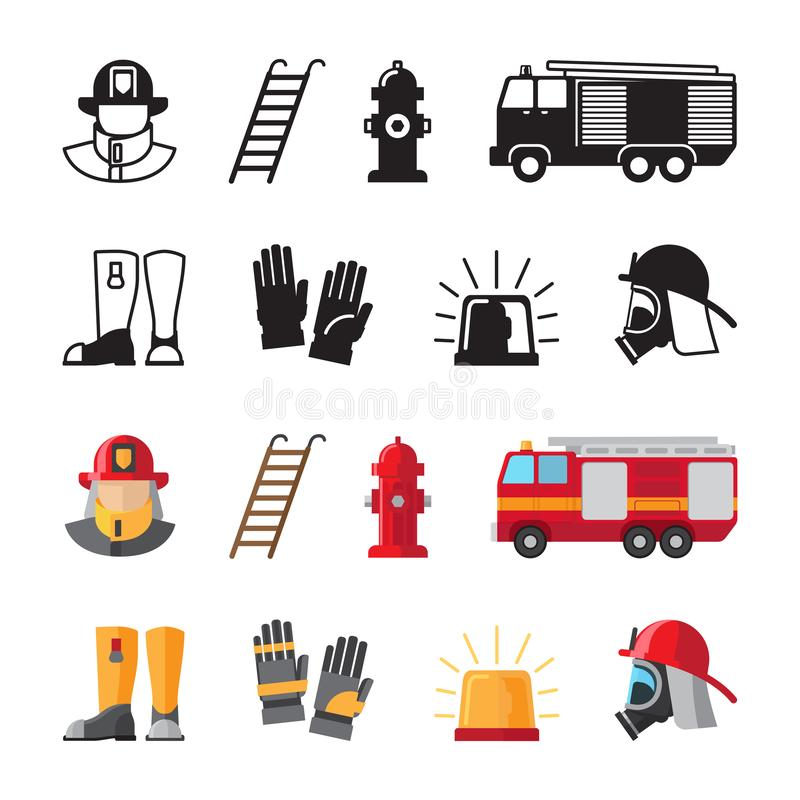 Firefighter accessorises, fireman tools vector icons isolated on white background stock illustration