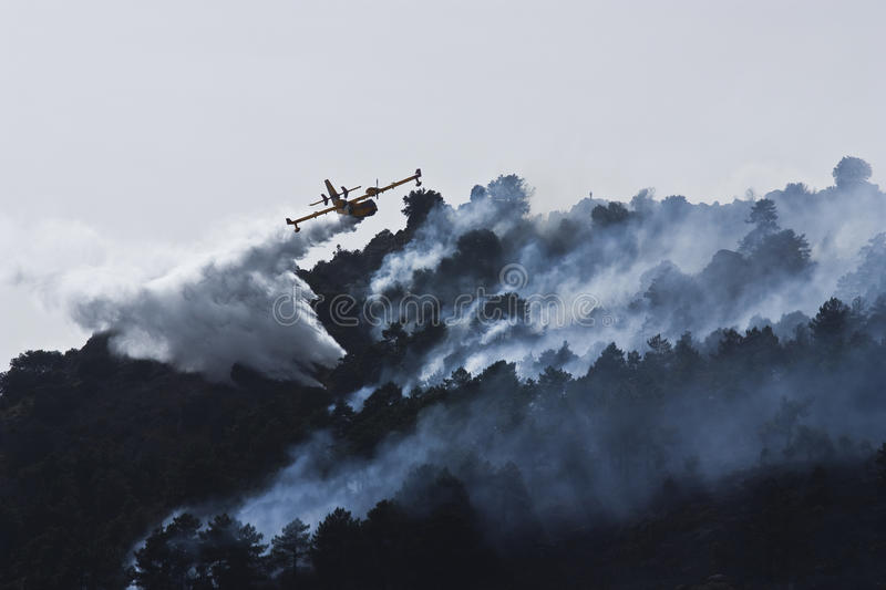 Firefighter Aircraft In Spain Forest Fire Editorial Stock Image