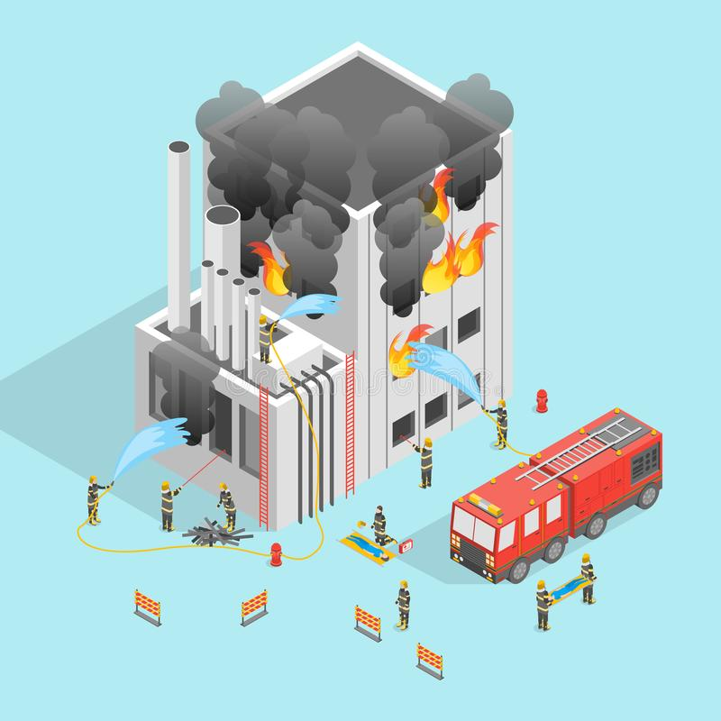 Firefighter and Building on Fire Concept 3d Isometric View. Vector royalty free illustration
