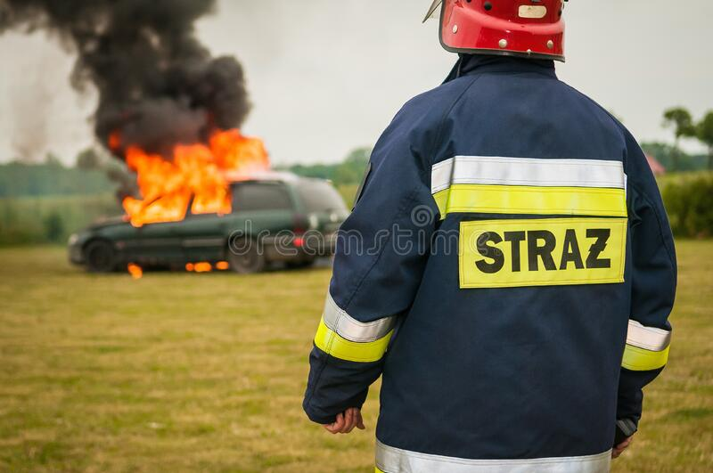 Firefighter At Car Fire Free Public Domain Cc0 Image