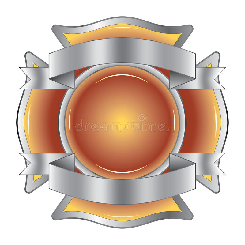 Firefighter Cross with Ribbons vector illustration