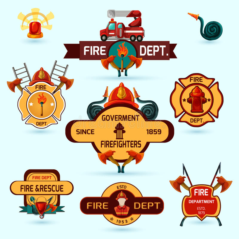 Firefighter Emblems Set. Firefighter volunteers and professional department emblems set isolated vector illustration stock illustration