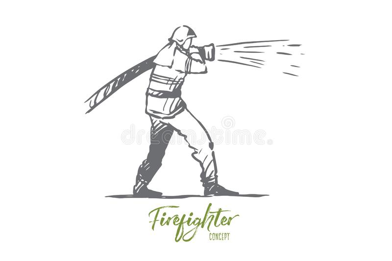 Firefighter, emergency, fire, helmet, rescue concept. Hand drawn isolated vector. Firefighter, emergency, fire, helmet, rescue concept. Hand drawn firefighter vector illustration