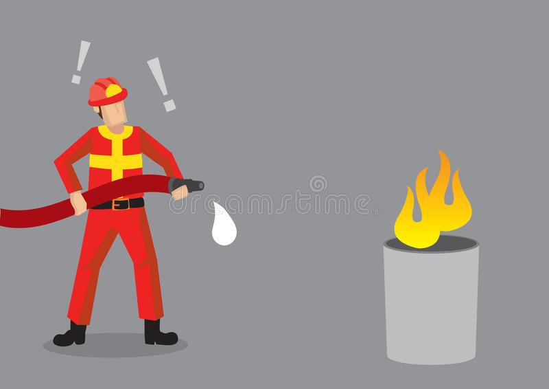 Firefighter Epic Fail Cartoon Vector Illustration. Cartoon fireman standing in front of mock fire, shocked that his hose has no water. Creative vector stock illustration