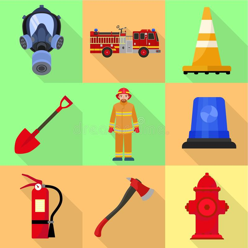 Firefighter equipment icon set, flat style. Firefighter equipment icon set. Flat set of 9 firefighter equipment vector icons for web design isolated on white stock illustration