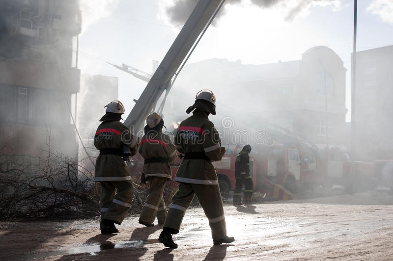 Download Firefighter on fire stock photo. Image of equipment, burning - 13002992