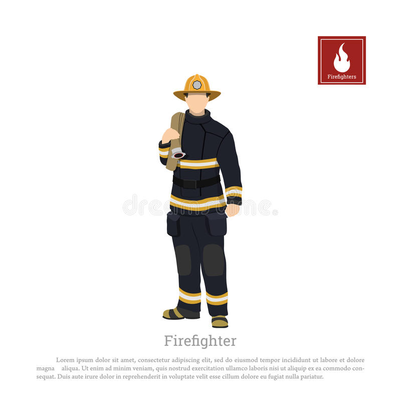Firefighter with an fire hose on white background. Image of a fireman in a flat style vector illustration