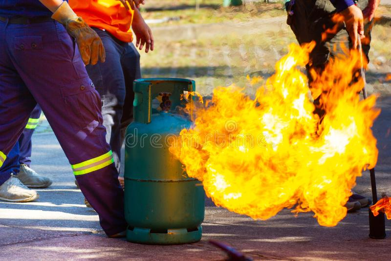 Firefighter firefighting training, The fire is burning stock photos