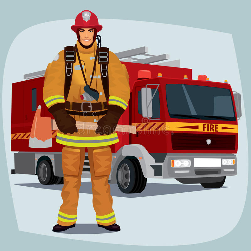 Firefighter or fireman with fire truck. Firefighter, man from fire brigade, standing full face in form of fireman, with personal protective equipment, bunker or royalty free illustration