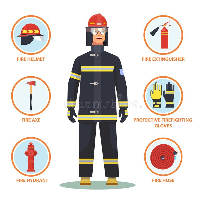 Firefighter or fireman with helmet and hydrant. Firefighter with equipment like helmet and gloves, fire hose and hydrant, axe and extinguisher. Fireman with item stock illustration