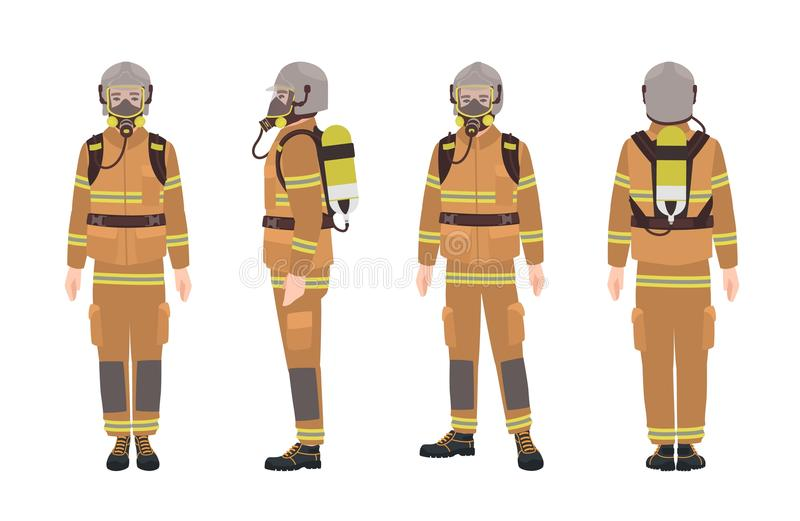 Firefighter or fireman wearing protective gear or uniform, helmet, breathing apparatus and air cylinder. Male cartoon vector illustration