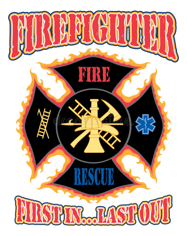 Firefighter First In Design. Illustration of a flaming firefighter cross with symbols for firefighting and rescue services stock illustration