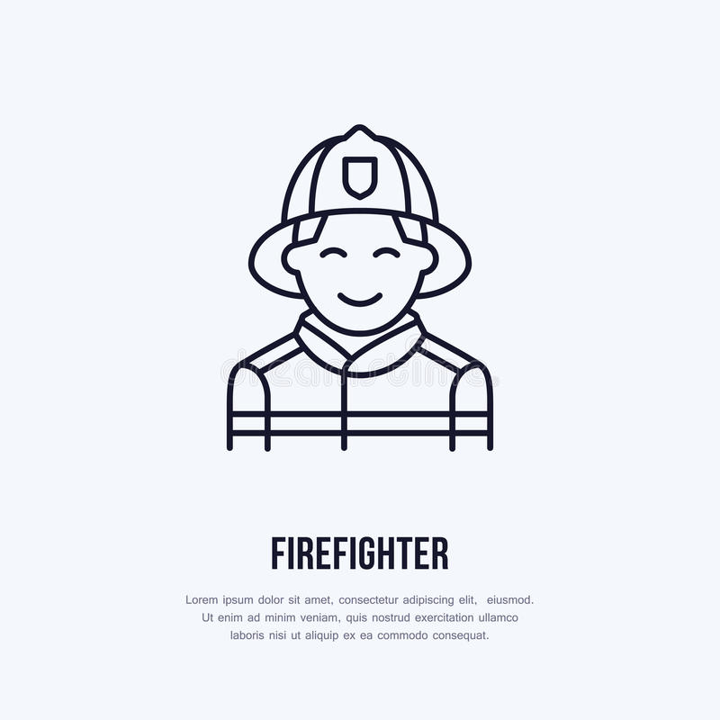 Firefighter flat line sign. Flame protection thin linear icon, pictogram. Smiling fire fighter vector on white. Background royalty free illustration