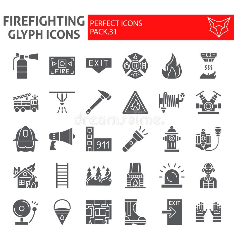 Firefighter glyph icon set, fireman symbols collection, vector sketches, logo illustrations, fire safety signs solid stock illustration